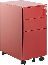 3 Drawer Metal Filing Cabinet Red BOLSENA