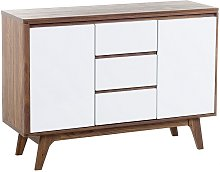 3 Drawer Sideboard White with Dark Wood PITTSBURGH