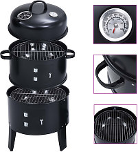 3-in-1 Charcoal Smoker BBQ Grill 40x80 cm - Black