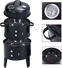3-in-1 Charcoal Smoker BBQ Grill 40x80