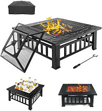 3 in 1 Fire Pit BBQ Grill Shelf Brazier Square