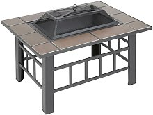 3 in 1 Fire Pit Table BBQ Grill & Ice Cooler