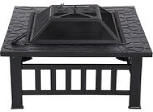 3 in 1 Outdoor Fire Pit - Metal Brazier Square