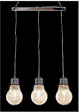 3 Lamp Bulb Light, Glass, Clear
