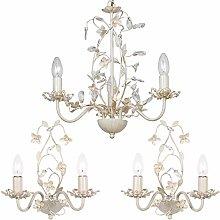 3 Lamp Ceiling Chandelier & 2X Twin Wall Light