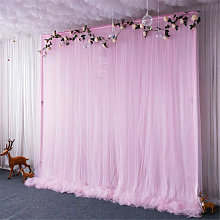 3 Layer 2m Pink Tulle Ice Silk Backdrop Curtain