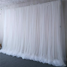 3 Layer 2m White Tulle Ice Silk Backdrop Curtain