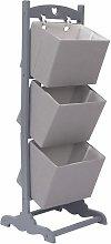3-Layer Basket Rack Wood Dark Grey 35x35x102 cm -