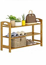 3 Layer Shoe Rack With Handle Bamboo, Wooden Shoe