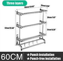 3 Layer Wall Mount Towel Rack Rail Stainless Steel