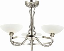 3 Light Ceiling Light, Satin Chrome Finish with
