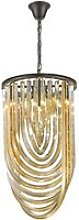 3 Light Ceiling Pendant Black Chrome, Champagne