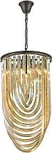 3 Light Ceiling Pendant Black Chrome, Champagne