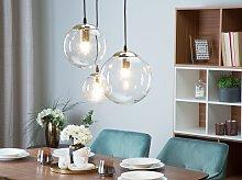 3 Light Pendant Lamp Transparent Glass Golden