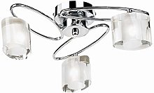 3 Light Semi Flush Ceiling Light, Chrome Plate