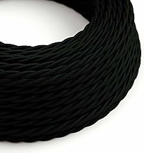 3 Metres - Black 3 Core Vintage Retro Braided