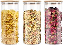 3 Pack Glass Storage Jars with Sealed Bamboo Lids
