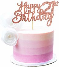 3 Pack Happy 21st Birthday Cake Topper Rose Gold
