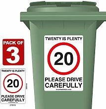 3 Pack of 20 Is Plenty Speed Reduction Wheelie Bin