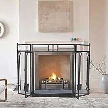 3 Panel Fireplace Screen with 2 Hinges Black
