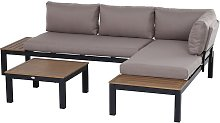 3 Pcs Aluminium Frame Garden Seat Set w/ Sofa