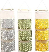 3 Pcs Cute Linen Fabric Hanging Storage Bag Behind