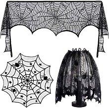 3 PCS Halloween Tablecloth Decorations Set Black