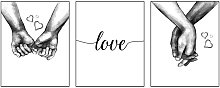 3 Pcs Love and Hand in Hand Wall Art Canvas Print