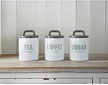3 PCS RETRO MULTI COLOUR TEA COFFEE SUGAR CANISTER