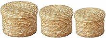 3 Pcs/Set Handmade Straw Woven Storage Basket With