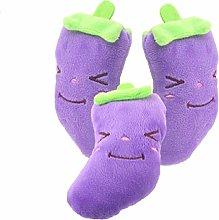 3 Pet Toys Plush Purple Eggplant Sounding Pet Toys