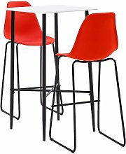 3 Piece Bar Set Plastic Red - Red