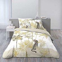 3-Piece Bedding Set 240 x 220 cm Gold Panther Prin