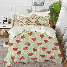 3 Piece Bedding Set,Fruits,Spring Daisy Blooms
