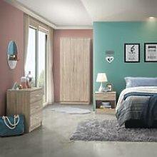 3 Piece Bedroom Furniture Set Wardrobe Chest