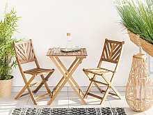 3 Piece Bistro Set Light Solid Acacia 2 Chairs and Tea Table Folding Slatted Design