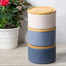 3 Piece Blue/Pink Stackable Storage Canisters Set