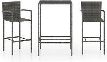 3 Piece Garden Bar Set Poly Rattan Grey - Grey -