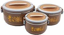 3 Piece Hot Pot Set (Brown) Food Warmer Serving