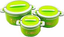 3 Piece Hot Pot Set (Green) Food Warmer Serving