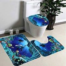 3 Piece Non Slip Pedestal Bath Mat Set, Toilet Lid