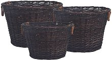 3 Piece Stackable Firewood Basket Set Dark Brown