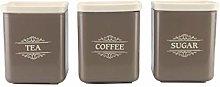 3 Piece Tea Coffee Sugar Canister Set 1300ml Large