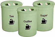 3 Piece Tea Coffee Sugar Canister Set 850ml