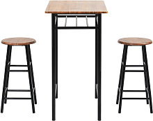 3 Pieces Bar Table Set, Modern Pub Table and