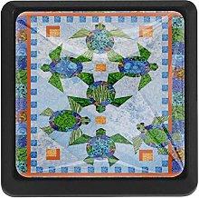 3 Pieces Drawer Knob Pull Handle, Art Sea Turtle,