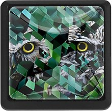3 Pieces Drawer Knob Pull Handle, Geometry Owl,