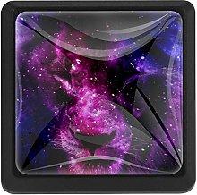 3 Pieces Drawer Knob Pull Handle, Purple Galaxy