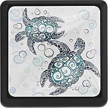 3 Pieces Drawer Knob Pull Handle, Two Sea Turtle,