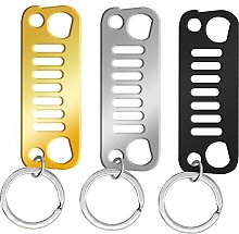 3 Pieces Front Grill Key Chains for Jeep Driver
